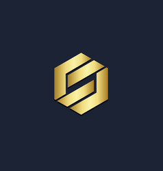 Polygon shape gold logo vector