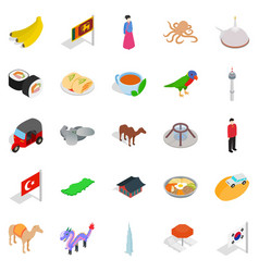 Relax in asia icons set isometric style vector