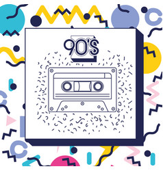 Retro cassette music icon vector