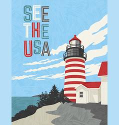 retro travel poster design lighthouse vector image