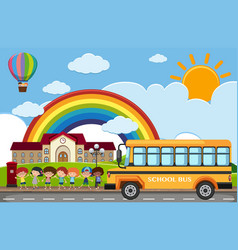 Scene with children and school bus on road vector
