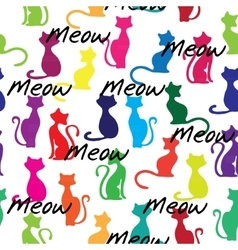 Seamless background with colorful cats vector