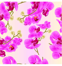 Seamless texture branches orchids purple tropical vector