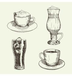 set graphic drinks include cup cappuccino vector image