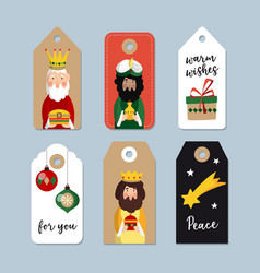 set of cute christmas gift tags three magi vector image