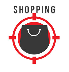 shopping shooting target black bag background vect vector image