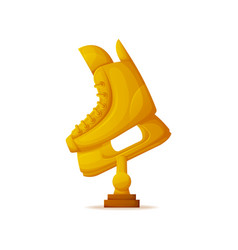 Skate trophy golden shoes object for rink vector