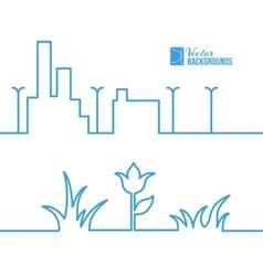 Spring line city scene vector
