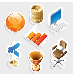 Sticker icon set for business and money vector