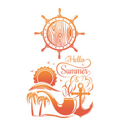 Summer sun logo design vector