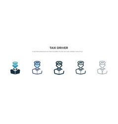 Taxi driver icon in different style two colored vector