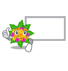 Thumbs up with board lantana flowers in the mascot vector