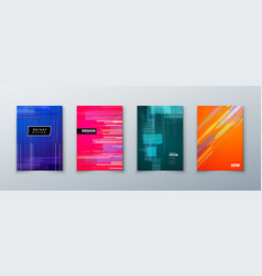 trendy glitch covers design with geometric pattern vector image