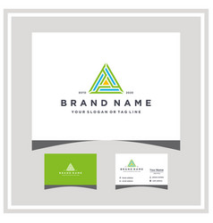 Triangle logo design and business card vector