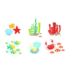 underwater world elements set tropical fishes vector image