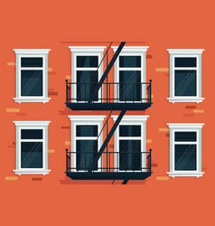 Wall of house with windows and stairs vector