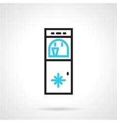 Water refrigerator black and blue line icon vector