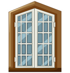 Window design with wooden frame vector