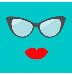 Women glasses and red lips set Fashion background vector image