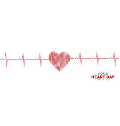 world heart day banner of red heartbeat line vector image