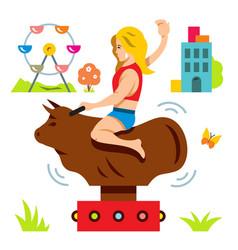 bull ride rodeo simulator cartoon vector image