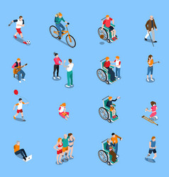 disabled persons isometric set vector image vector image