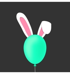rabbit ears behind the green baloon vector image