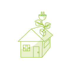 silhouette house with power cable with leaves to vector image vector image