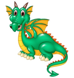 Cartoon happy green dragon isolated vector image