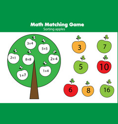 math educational game for children matching vector image vector image