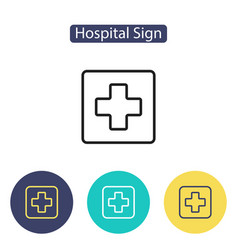 medical cross sign hospital icon vector image vector image