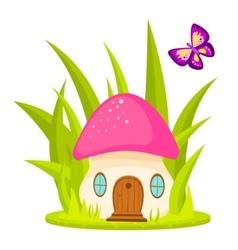 Mushroom house cartoon vector image vector image