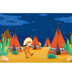 tent house and kid vector image