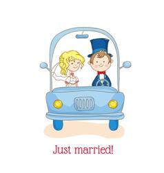 Wedding invitation card - just married vector