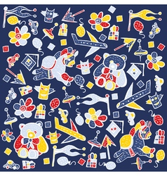 Child pattern with cute toy elements vector image