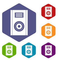 music speaker icons set hexagon vector image vector image
