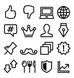 Web menu navigation line icons - social media vector image vector image