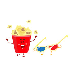 cinema popcorn and 3d stereoscopic glasses vector image vector image