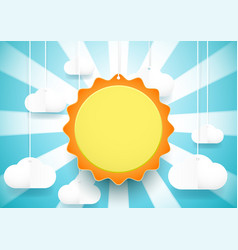 cute sun and clouds background paper art and vector image