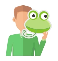 Man Without Face with Frog Mask Isolated on White vector image