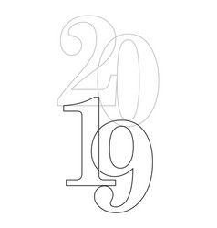 2019 outline vector image