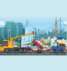 Accident scene with car crash and tow truck in vector
