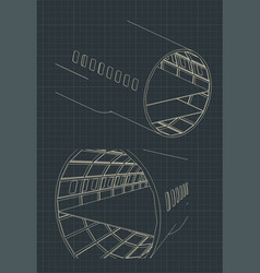 Airplane fuselage sections drawings vector