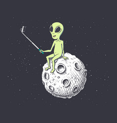 Alien makes selfie on moon vector
