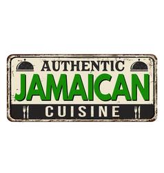 Authentic jamaican cuisine vintage rusty metal vector