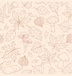 autumn seamless pattern with oak poplar beech vector image