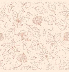 Autumn seamless pattern with oak poplar beech vector