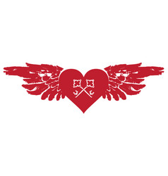 banner with red flying heart with wings and keys vector image