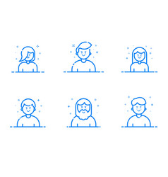 Blue icon set in flat line vector