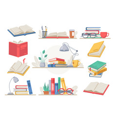 books reading set workspace or workplace folders vector image